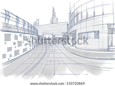 Architectural sketch. Buildings. - stock photo