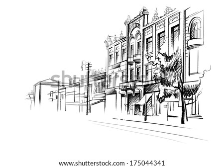 Architectural sketch of black ink and pencil on white paper. Plein Air, cityscape. Black lines on the white background. Perspective streets, houses in poor neighborhoods. Lights, poles, wires. Russia