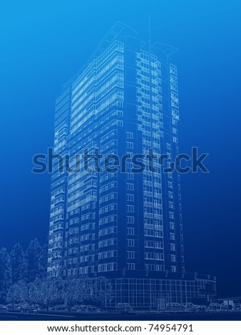 Architectural sketch of high-rise building - stock photo
