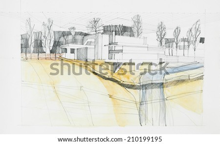 architectural sketch of modern construction with river, hand drawn - stock photo