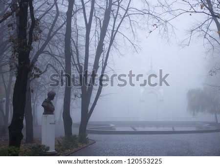 architectural structures in the fog
