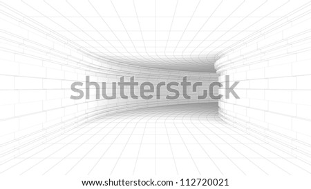 Architectural Tunnel Wireframe - High quality Render