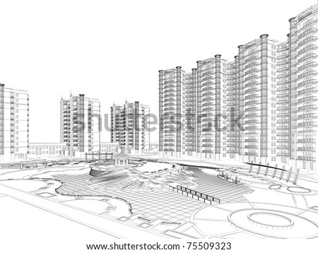 architectural wire-frame plan - stock photo