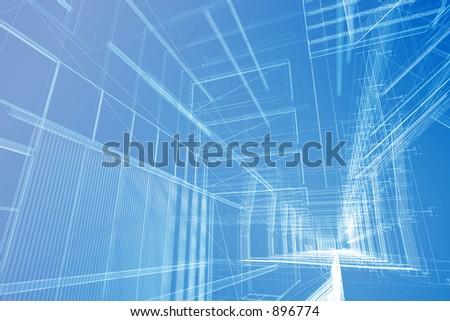 Architectural wire mesh. - stock photo
