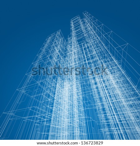 Architecture abstract. 3d render image - stock photo