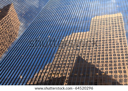 Architecture abstract of reflections of office buildings in downtown Houston. - stock photo