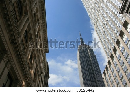 Architecture along Fifth Avenue in Midtown Manhattan. - stock photo
