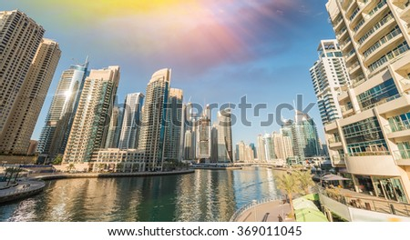 Architecture and buildings of Dubai, Jumeirah Palm. - stock photo