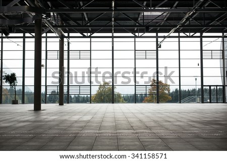 architecture and construction concept - modern empty show room - stock photo