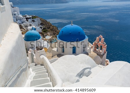 Architecture and landscape of the island of Santorini, Greece