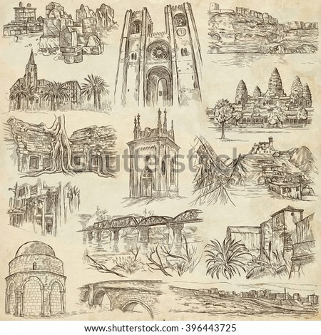 ARCHITECTURE around the World - pack, collection - Collection of an hand drawn illustrations. Description, Full sized hand drawn illustrations (freehand sketches). Drawings on old paper. - stock photo
