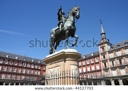 Architecture at Plaza Mayor (Main Square) in Madrid, Spain. Casa de la Panaderia. - stock photo