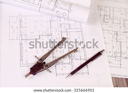 Architecture background construction plan tools blueprint stock architecture background construction plan tools and blueprint drawings pen and divider tool malvernweather Gallery