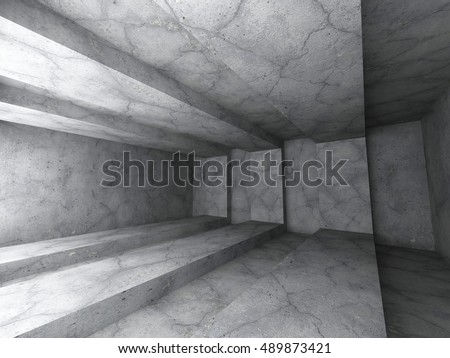 Architecture background. Dark empty concrete abstract room. 3d render illustration