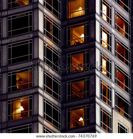 Architecture background of apartment in outside in night. - stock photo