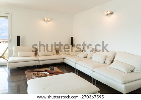 Architecture, beautiful apartment furnished, comfortable living room - stock photo