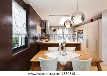 Architecture, beautiful apartment furnished, dining room - stock photo