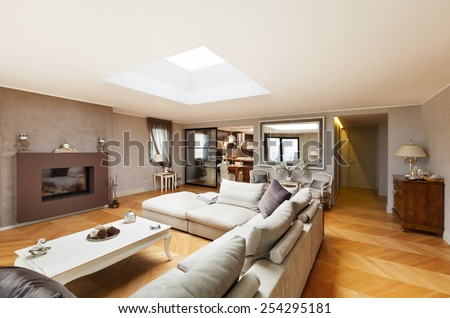 Architecture, beautiful apartment furnished, living room - stock photo