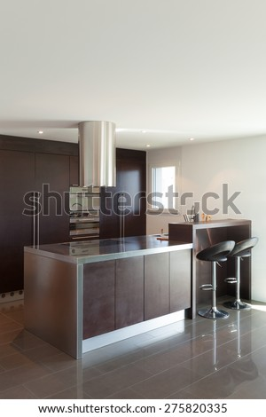 Architecture, beautiful apartment furnished, modern kitchen