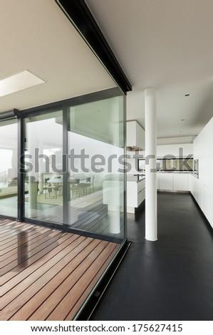 Architecture, beautiful interior of a modern villa - stock photo