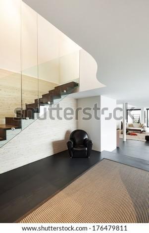 Architecture, beautiful interior of a modern villa, hall view - stock photo