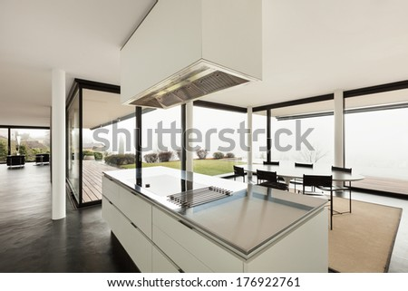 Architecture, beautiful interior of a modern villa, view from the kitchen