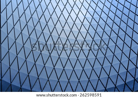 architecture blue glass ceiling inside contemporary business hallway - stock photo
