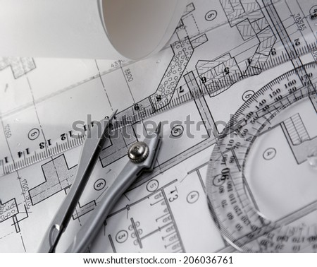 architecture blueprint and tools  - stock photo