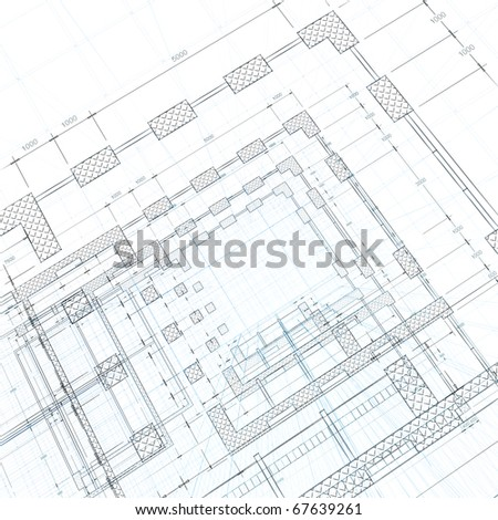 Architecture blueprint. 3d render on white - stock photo