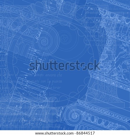 Architecture Blueprint - Hand draw sketch ionic architectural order. Bitmap copy my vector id 84067081 - stock photo