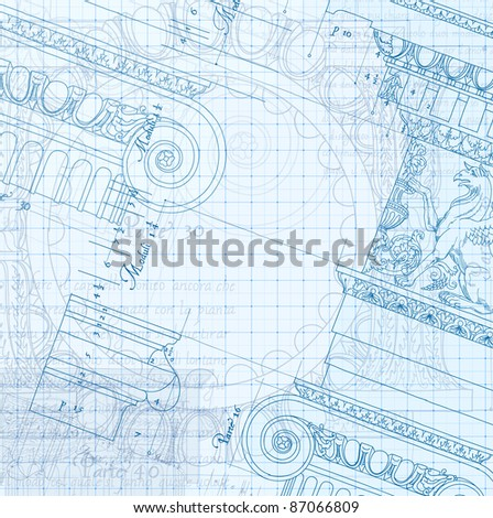 Architecture Blueprint - Hand draw sketch ionic architectural order. Bitmap copy my vector ID 86211826 - stock photo