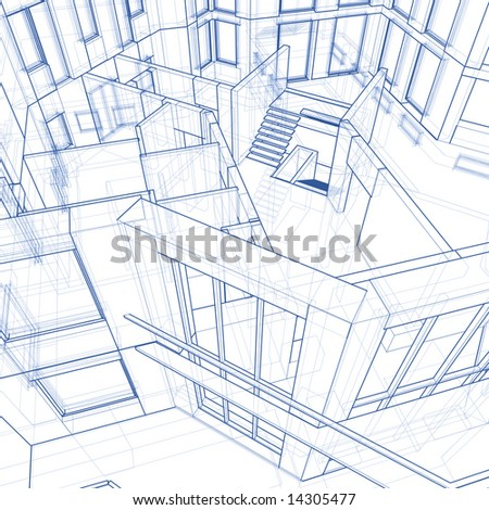 Architecture blueprint house 3 d technical draw stock illustration architecture blueprint house 3d technical draw malvernweather Images