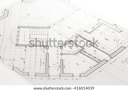 architecture blueprint -  house plan - stock photo