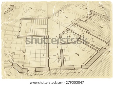 Architecture blueprint house plan old paper stock illustration architecture blueprint house plan old paper background malvernweather Image collections