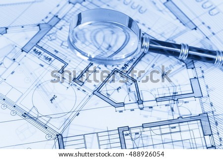 Architecture blueprint house plans magnifying glass stock photo architecture blueprint house plans magnifying glass malvernweather Images