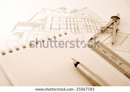 architecture blueprint & tools - stock photo