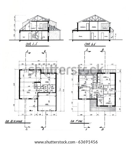 Architecture blueprint with explanations handwritten in French - stock photo
