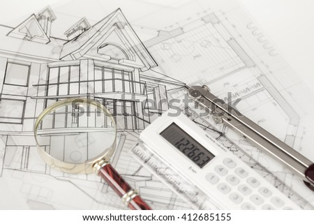 Architecture Blueprints House 3d house on design sketches blueprints stock illustration