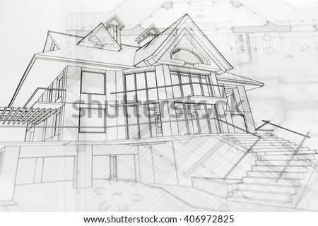 architecture blueprints & house drawing - stock photo