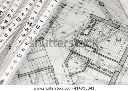 Metric Folding Ruler Architectural Drawings Modern Stock Photo