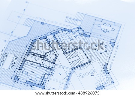 Floor Plan Project Technical Drawing Construction Stock