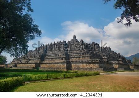 Architecture Borobudur Temple Stupa Ruin in Yogyakarta Indonesia. - stock photo