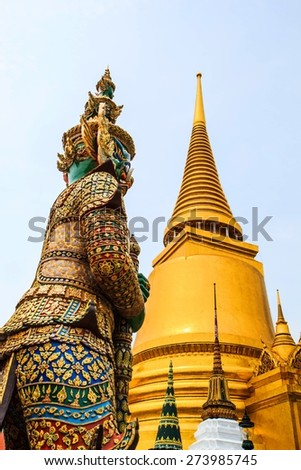 Architecture buddhist artwork spectacular temple  in thailand. - stock photo