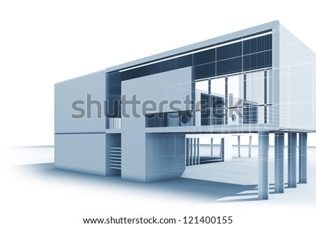 Architecture building. High quality 3d house - stock photo
