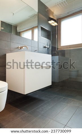Architecture, comfortable apartment, bathroom view - stock photo