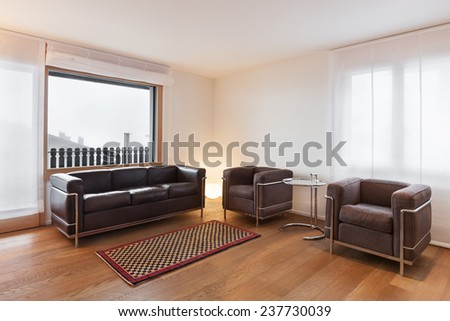Architecture, comfortable apartment, wide living room - stock photo