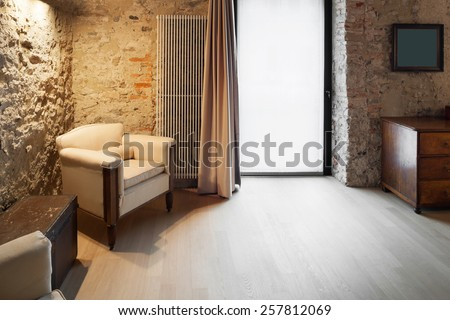 Architecture, comfortable loft furnished, lounge view - stock photo