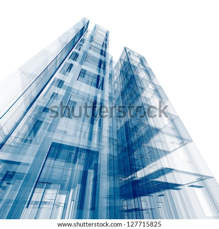 Architecture concept. Design and 3d model my own - stock photo