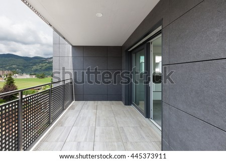 Architecture contemporary, balcony of a building - stock photo