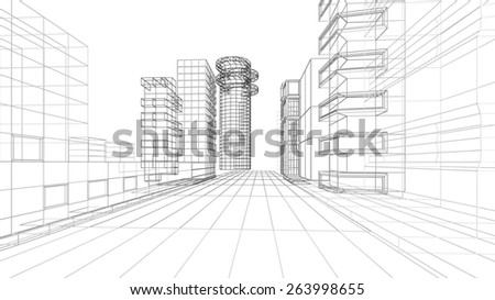 Architecture. 3D. Architecture abstract - stock photo